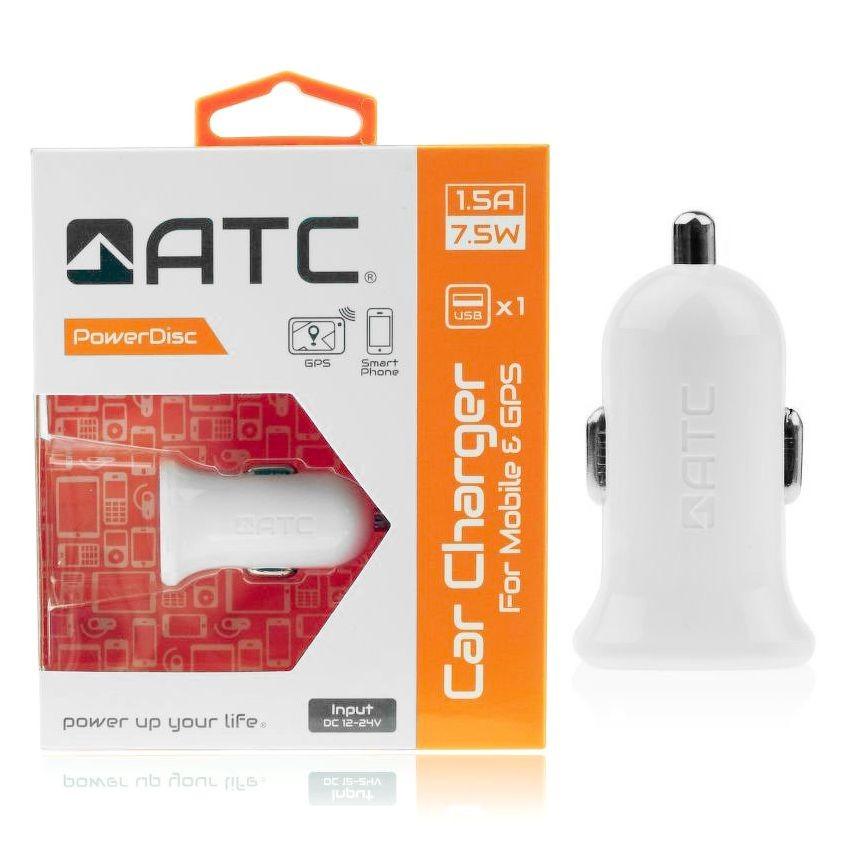 ATC Φορτιστής αυτοκινήτου 1 USB 5v 1,5A 7,5 Watt.