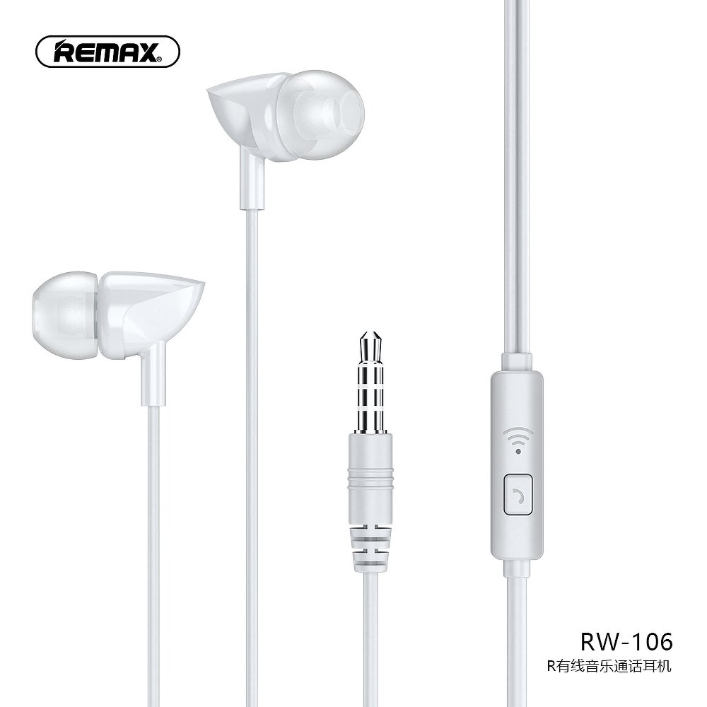 RW 106 REMAX ΛΕΥΚΑ WIRED EARPHONE