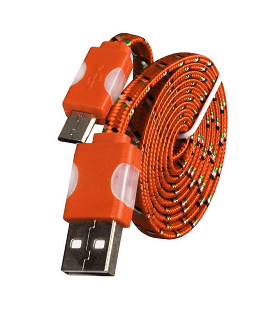 OEM Braided Flat USB 2.0 to micro USB Cable ORANGE 1m (ΚΙΝ1541)