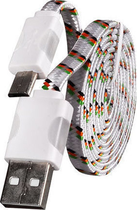 OEM Braided Flat USB 2.0 to micro USB Cable White 1m (ΚΙΝ1541)